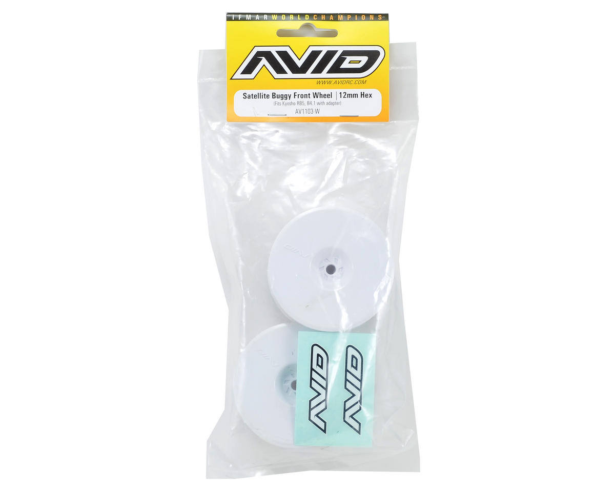 "12mm Hex Satellite 2.2"" Front Buggy Wheels (White) (2) (B6/RB6/YZ2) by Avid RC"
