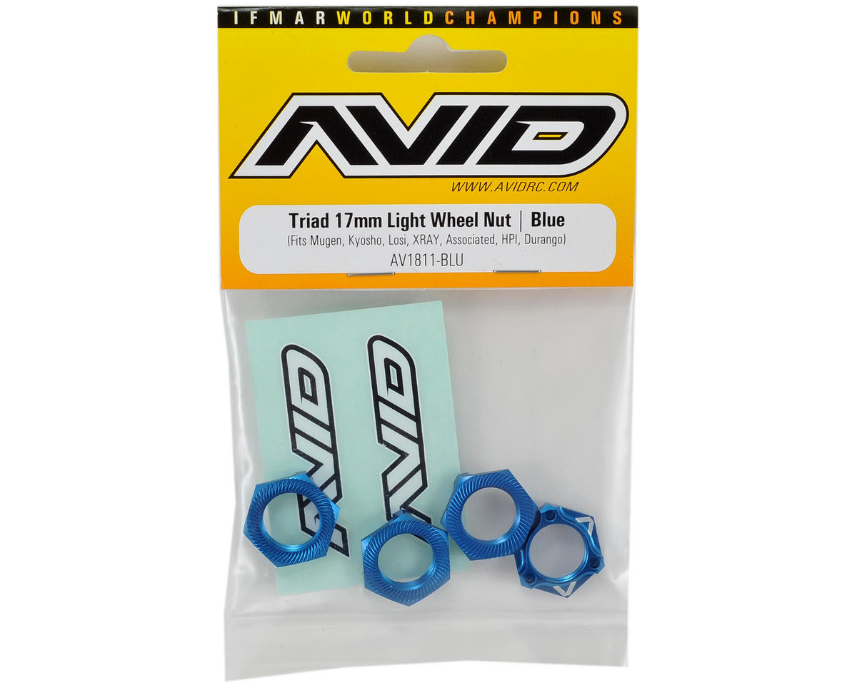 "Avid RC ""Triad"" 17mm Light Weight Wheel Nut (4) (Blue)"