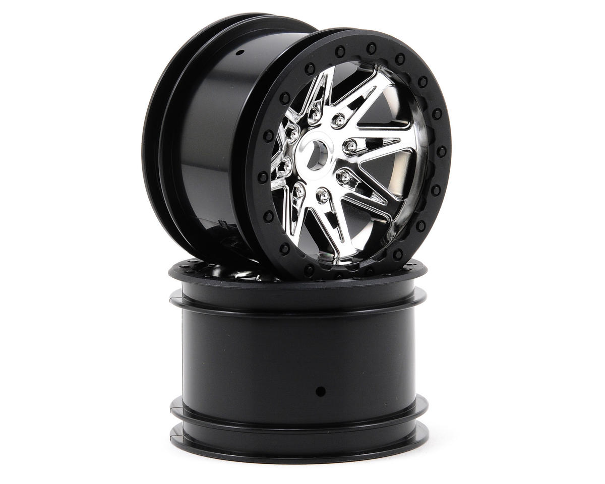Raceline Renegade 41mm Wide 2.2 Crawler Wheels (2) (Chrome/Black) by Axial Racing