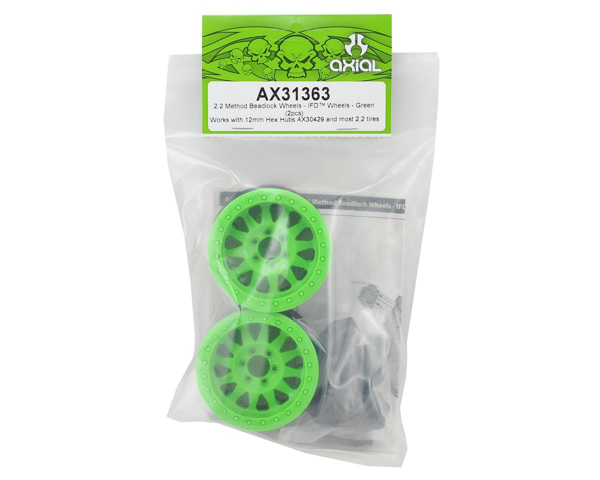 """Method IFD 2.2"""" Beadlock Rock Crawler Wheels (2) (Green) by Axial"""