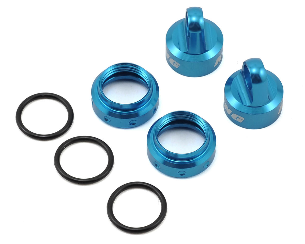 Axial 12mm Aluminum King Shocks Caps & Collars Set (Blue) (4)