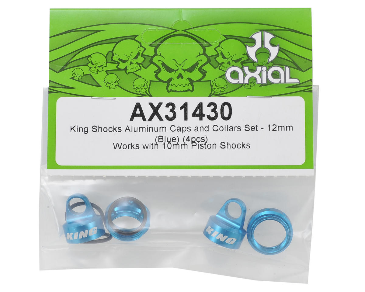 Axial Racing 12mm Aluminum King Shocks Caps & Collars Set (Blue) (4)