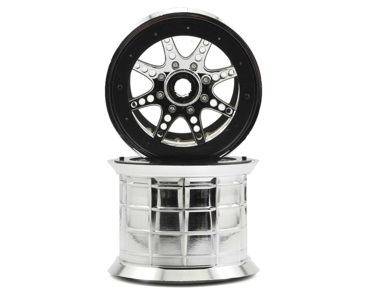 8 Spoke Oversize Beadlock Monster Truck Wheel (2) (Chrome) by Axial