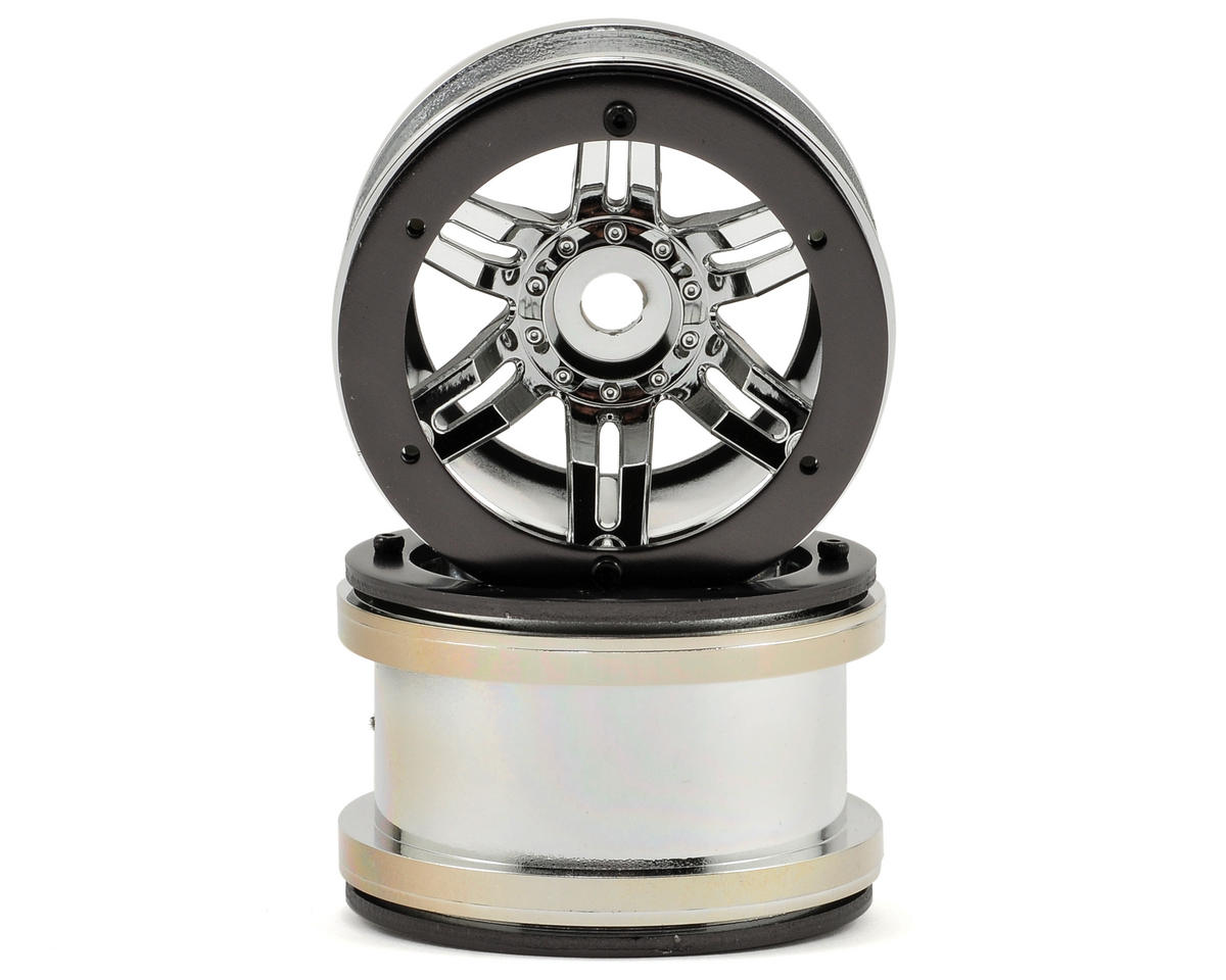 "Axial Racing Rockster 2.2"" Beadlock Rock Crawler Wheels (2) (Chrome)"