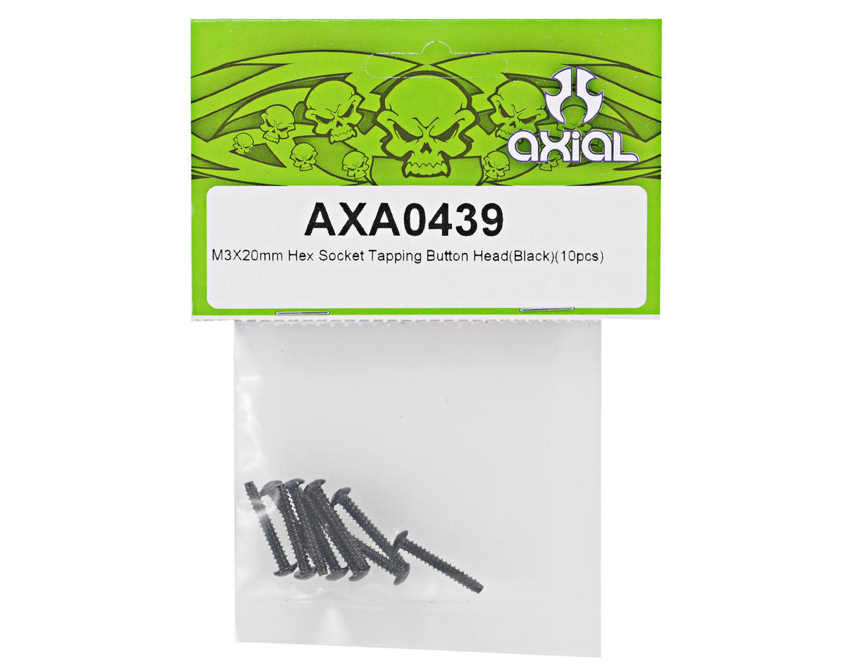 Axial M3x20mm Self Tapping Button Head Screw (Black) (10)
