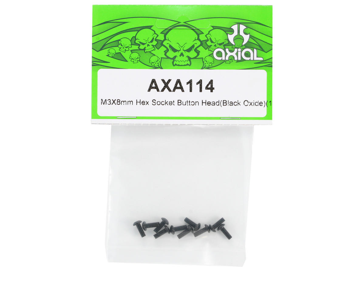 Axial 3x8mm Button Head Screw (Black) (10)