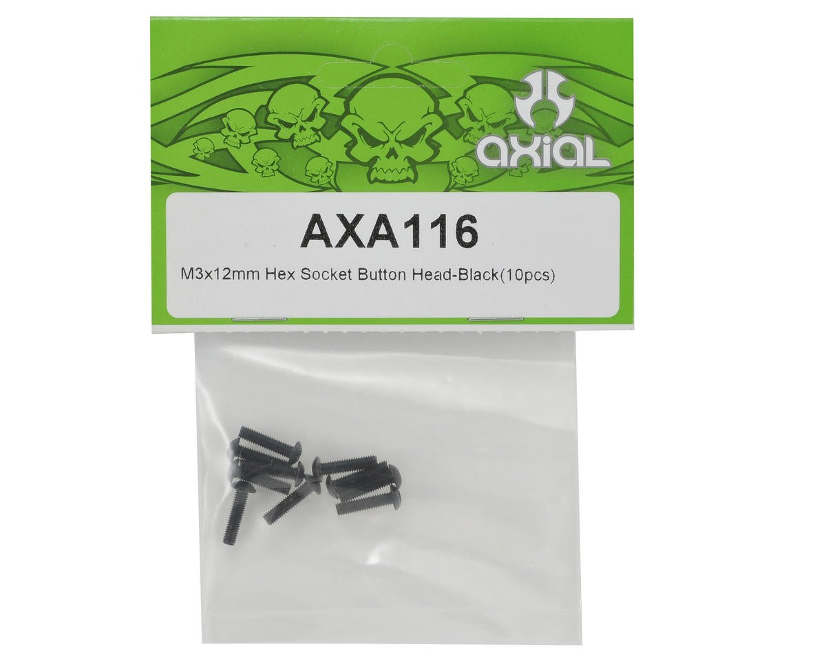 Axial 3x12mm Button Head Screw (Black) (10)