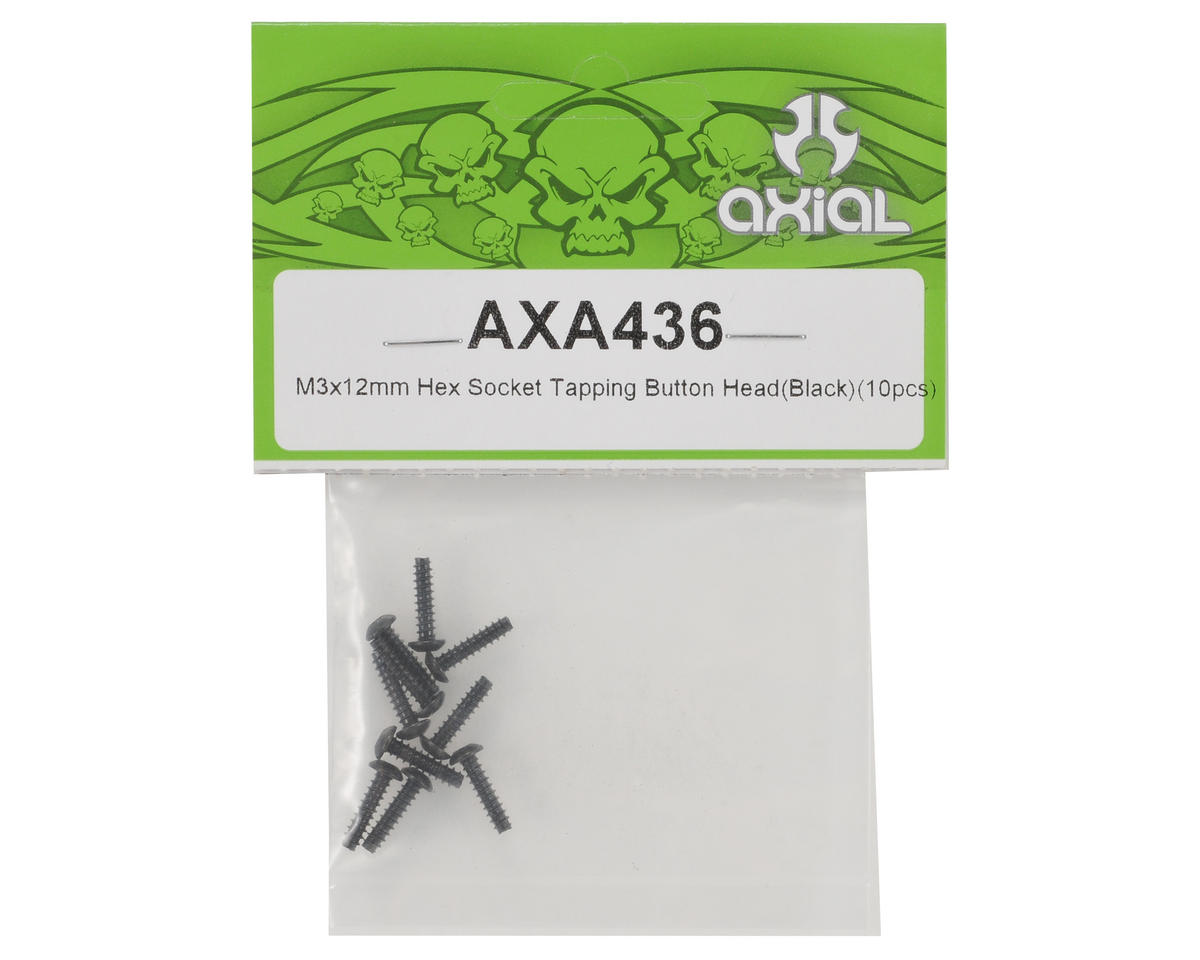 Axial Racing 3x12mm Self Tapping Button Head Screw (Black) (10)