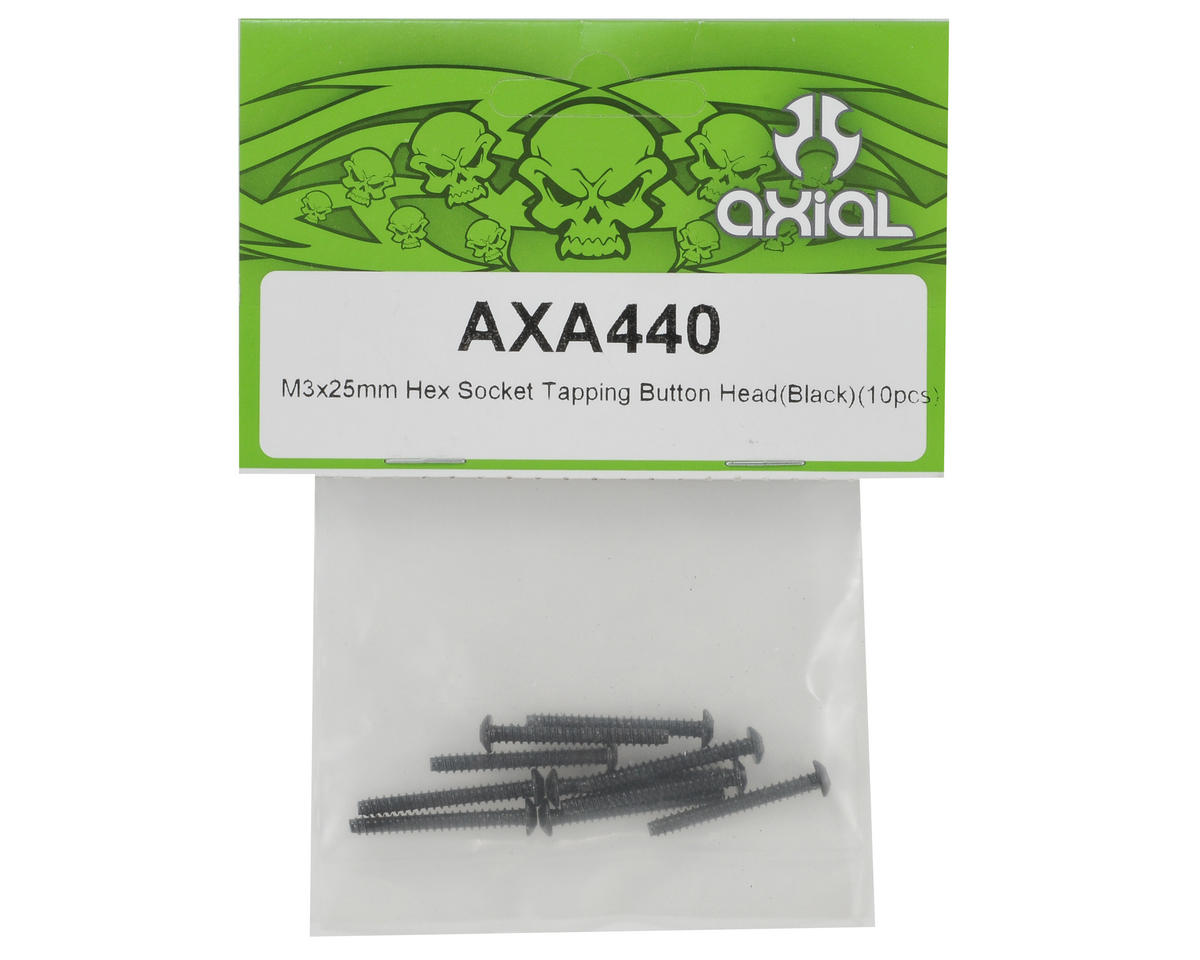 Axial Racing 3x25mm Self Tapping Button Head Screw (Black) (10)