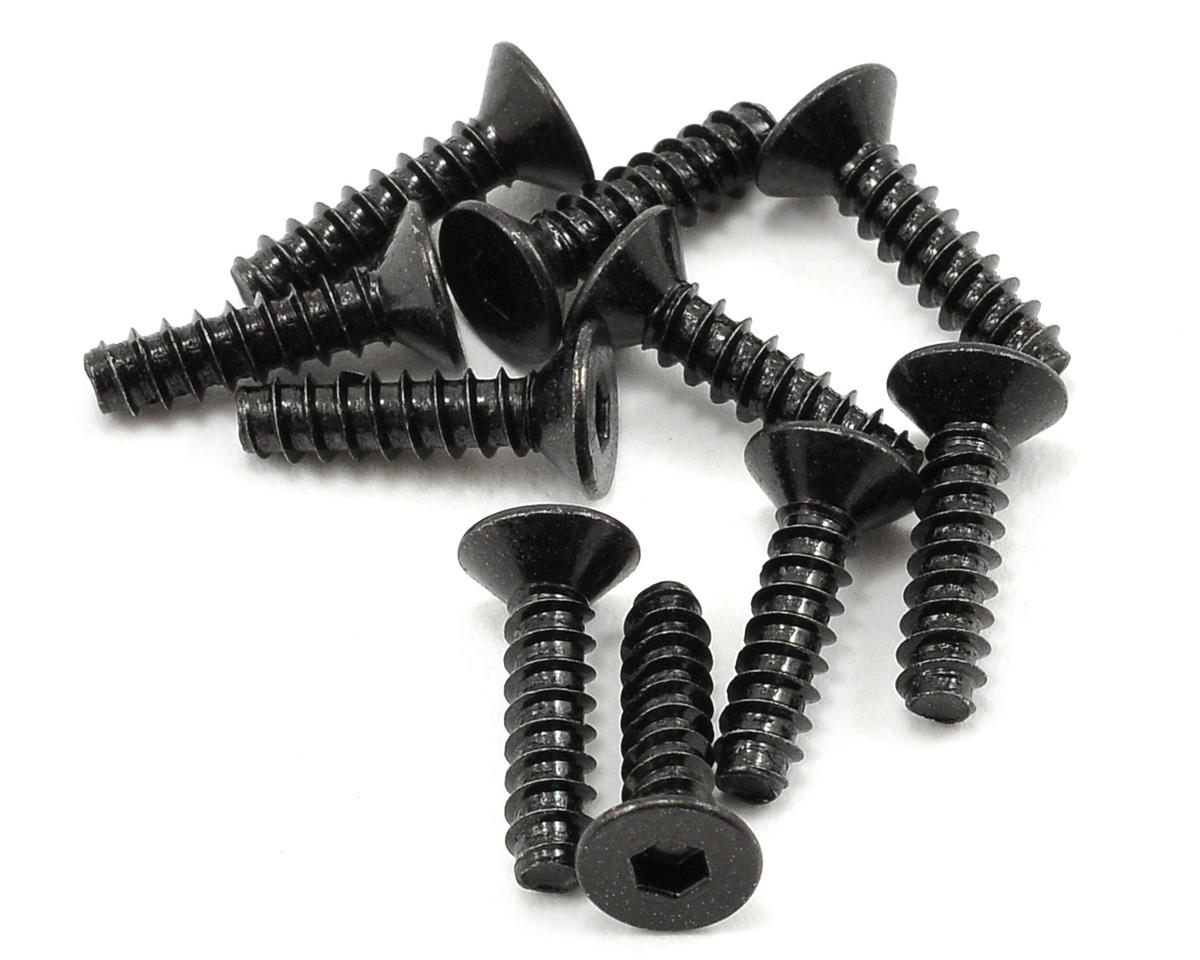 Axial Racing 3x12mm Self Tapping Flat Head Screw (Black) (10)
