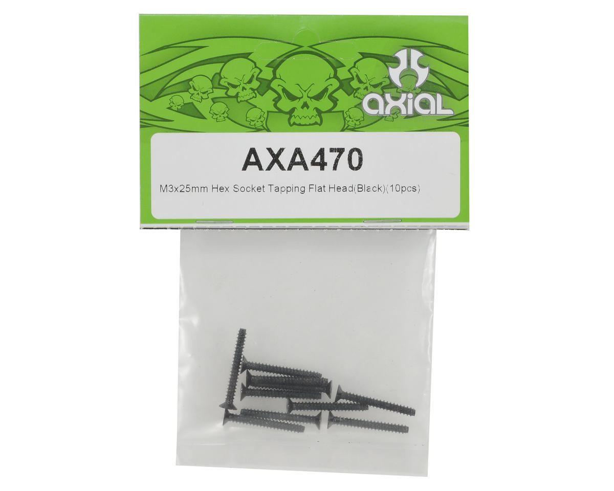 Axial Racing 3x25mm Self Tapping Flat Head Screw (Black) (10)