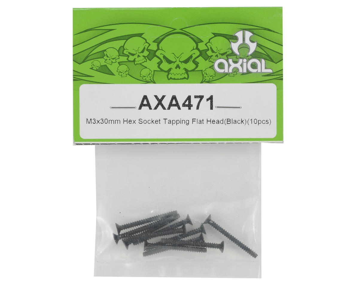 Axial Racing 3x30mm Self Tapping Flat Head Screw (Black) (10)