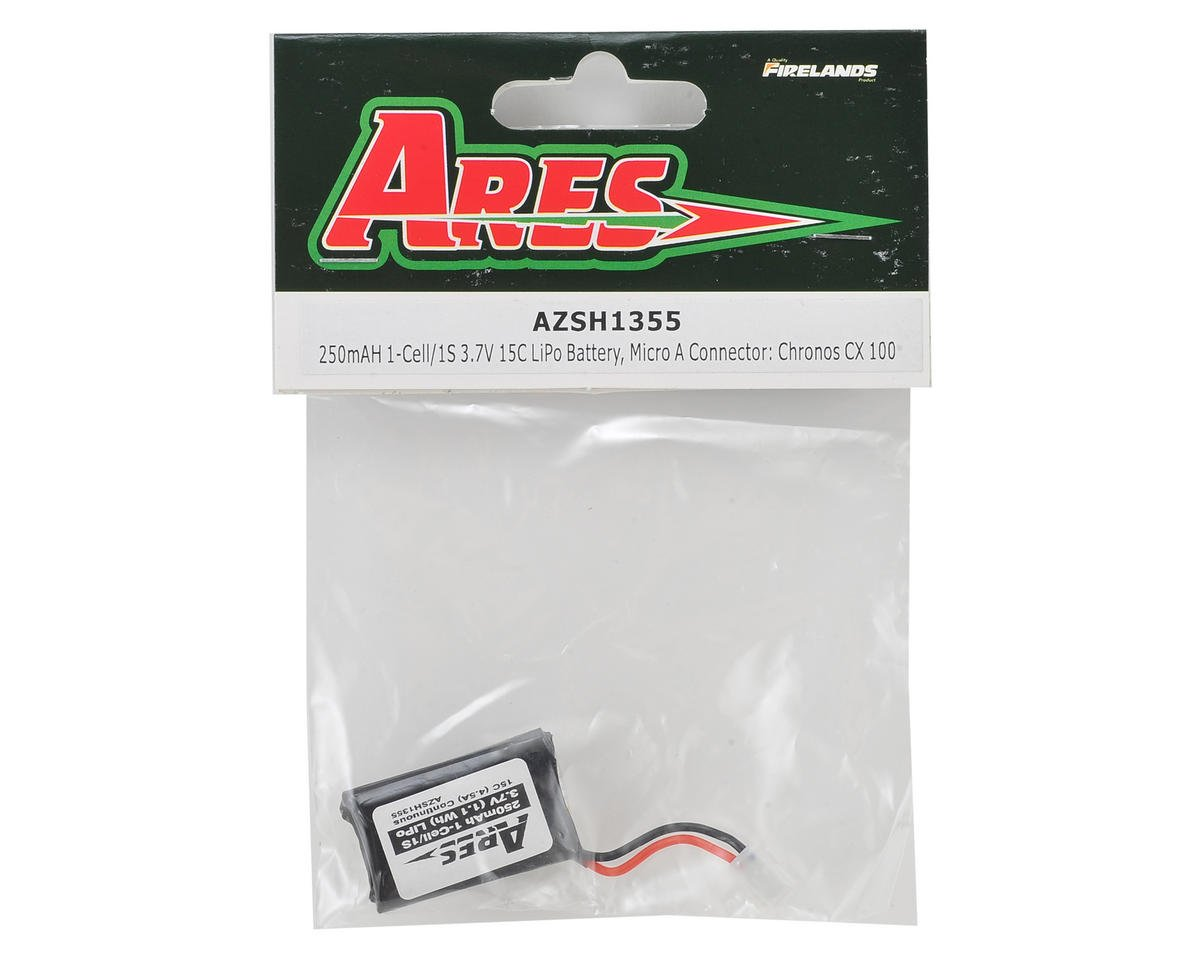 1S 15C LiPo Battery Pack w/Micro A (3.7V/250mAh) (Chronos CX 100) by Ares RC