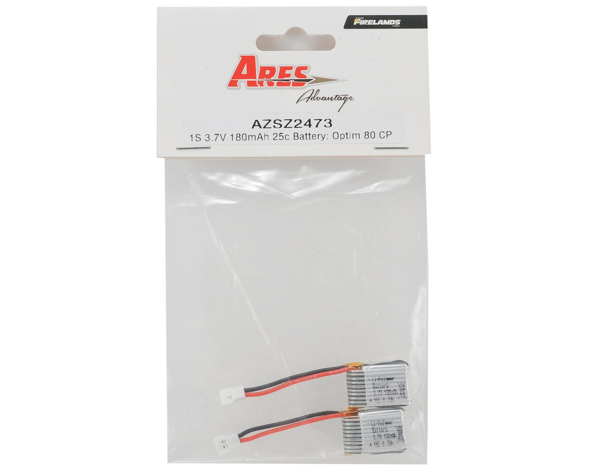 Ares 1S 25C LiPo Battery Pack (2) (3.7V/180mAh) (Optim 80 CP)