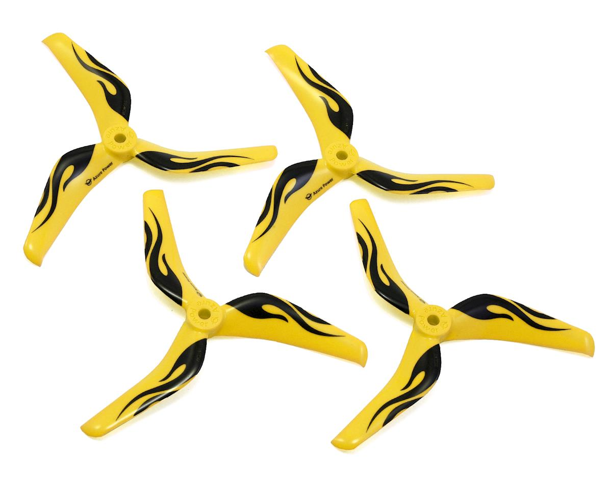 "Azure Power 5.1"" Tri-Blade 5150 Polycarbonate Race Propeller Set (Yellow)"
