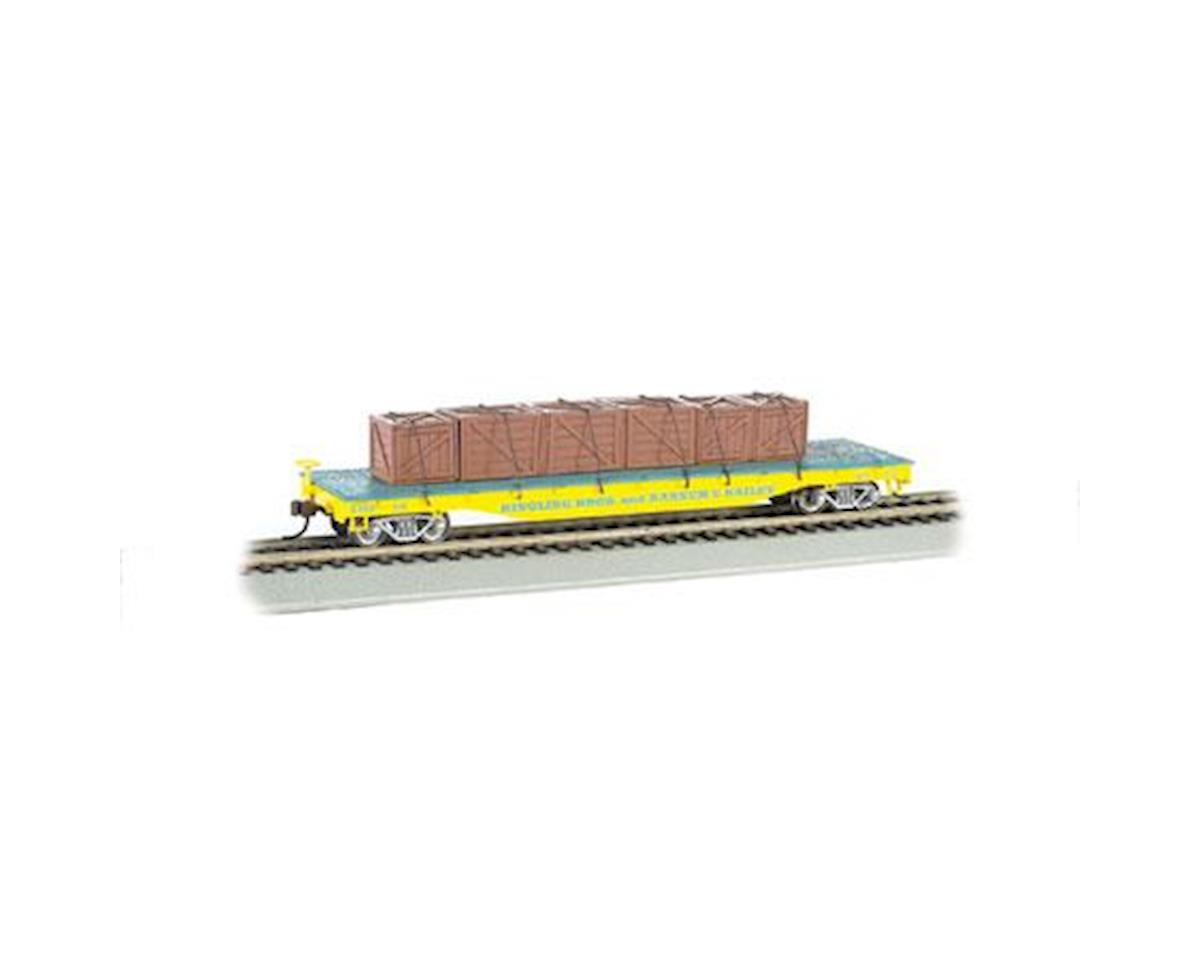 Bachmann HO Flat Car w/Crate Load, Ringling Bros/Yellow
