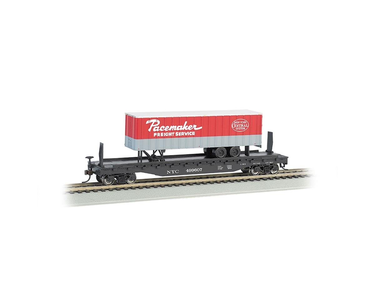 "HO 52' 6"" Flat w/ 35' Trailer, NYC/Pacemaker by Bachmann"