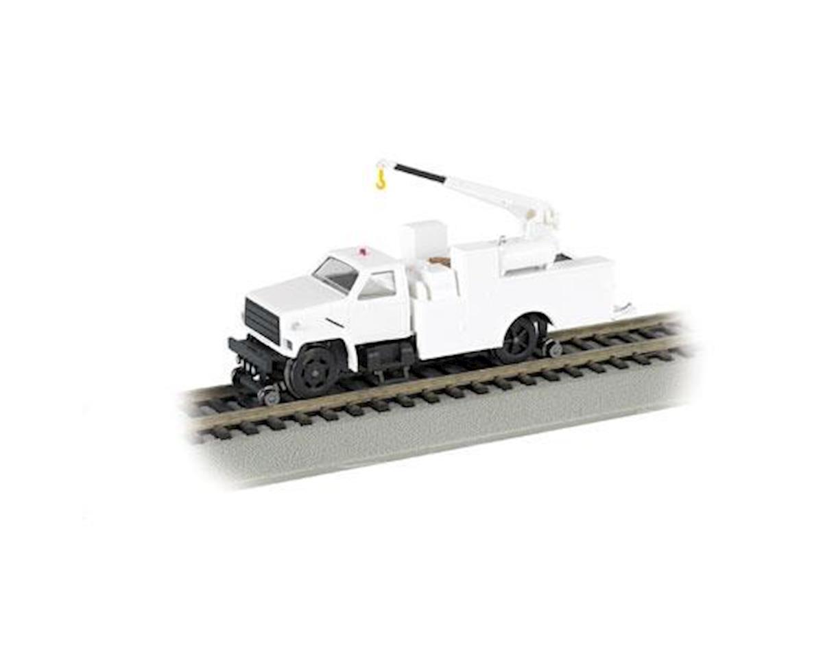 HO Hi-Rail Truck w/DCC & Crane, MOW/White by Bachmann