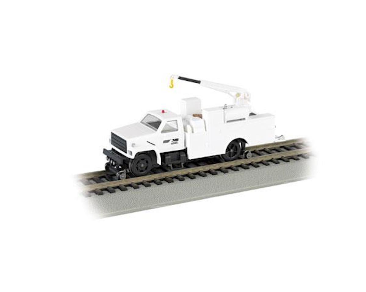 HO Hi-Rail Truck w/DCC & Crane, NS/White by Bachmann