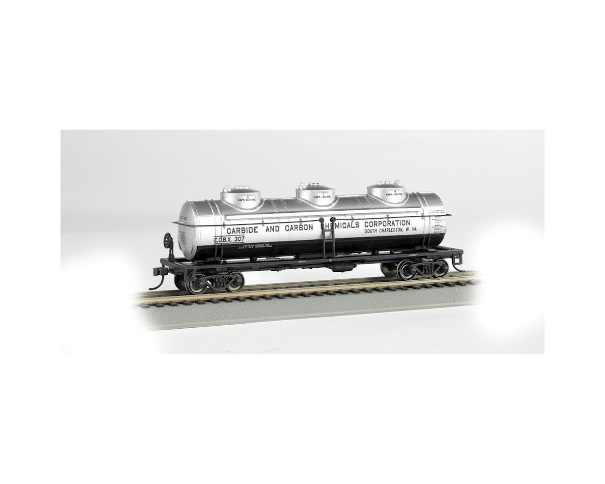 HO RTR SS 40' 3 Dome Tank, Carbon Chemicals by Bachmann