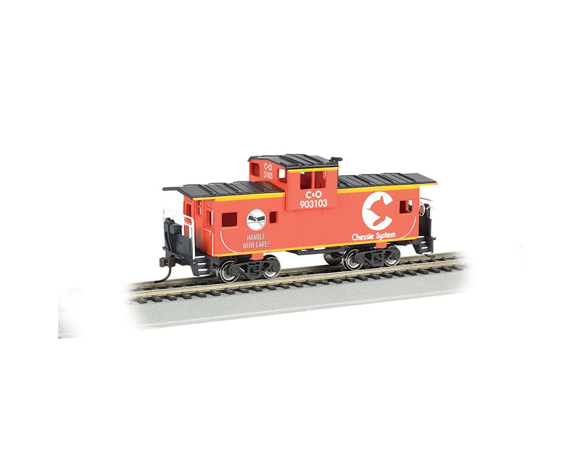 Bachmann HO 36' Wide Vision Caboose, Chessie/Orange