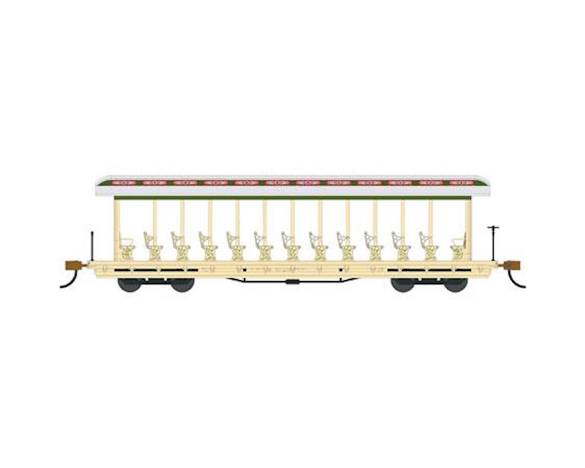 Bachmann HO Open Excursion Car, Amusement Park/Cream/Olive