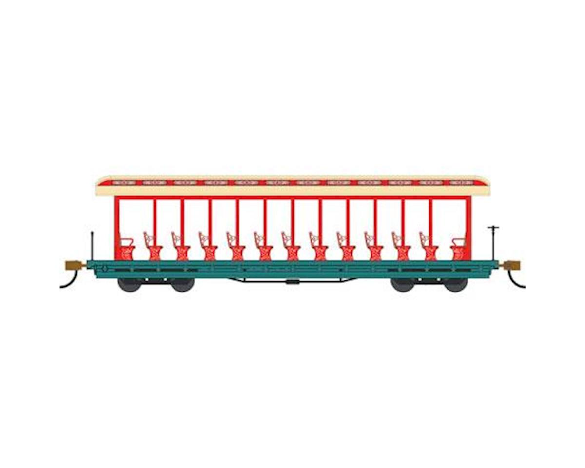 Bachmann HO Open Excursion Car, Amusement Park/Red/Aqua