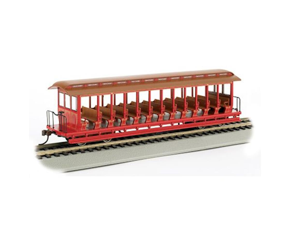 HO Open Excursion Car, Red & Silver by Bachmann