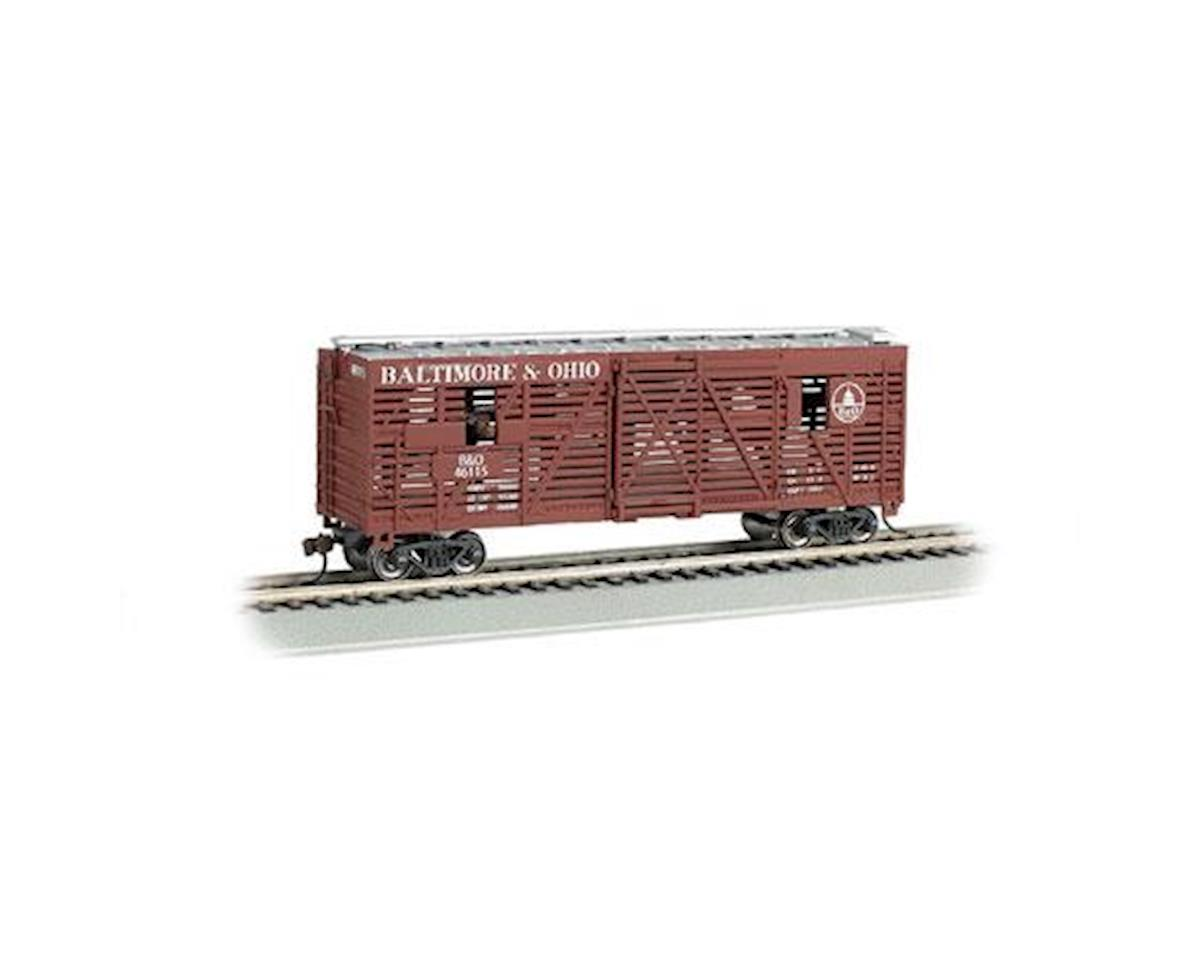 HO 40' Amimated Stock Car, B&O w/Cows by Bachmann