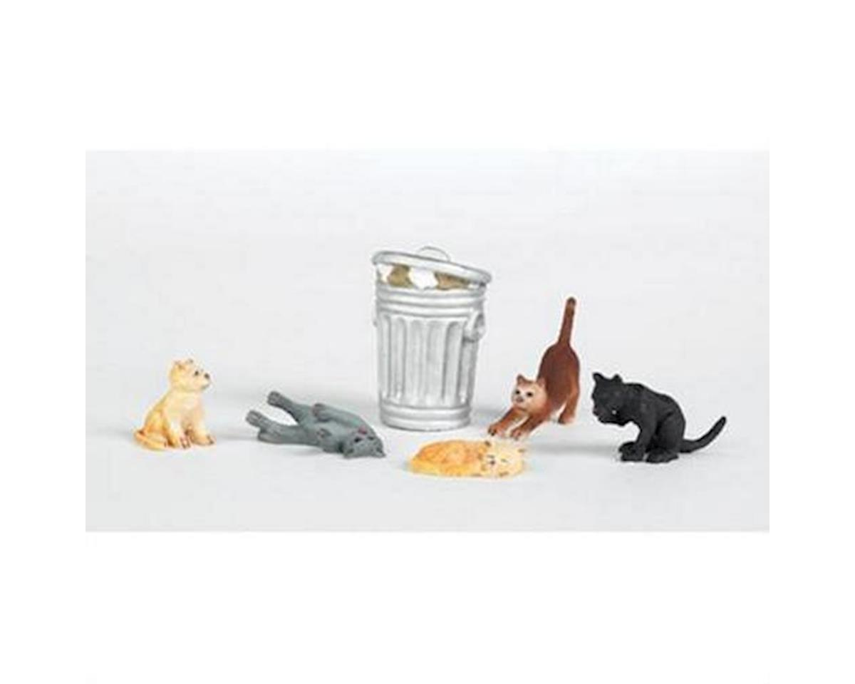 HO Cats with Garbage Can (6) by Bachmann