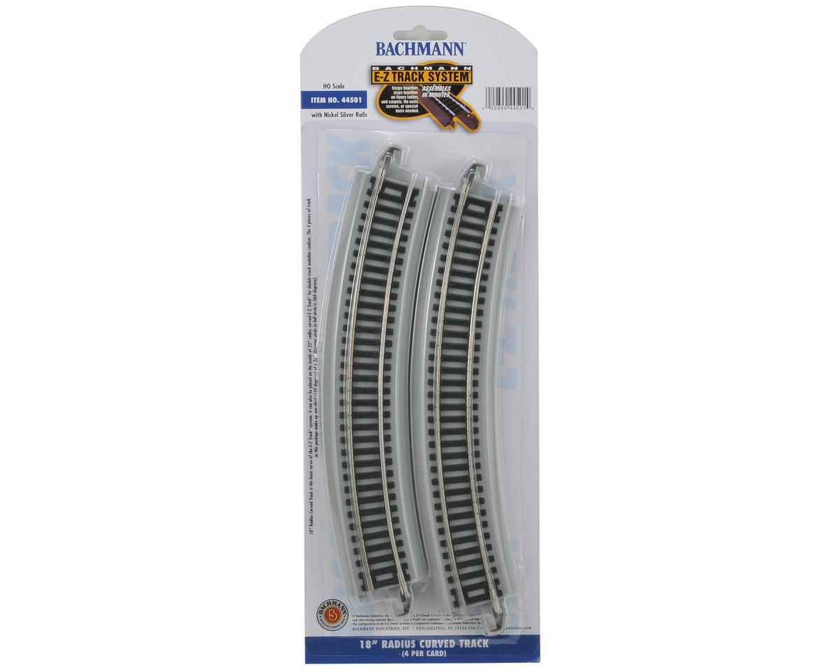 "Bachmann HO-Scale E-Z Track 18"" Curved Track (4) (Nickel Silver)"