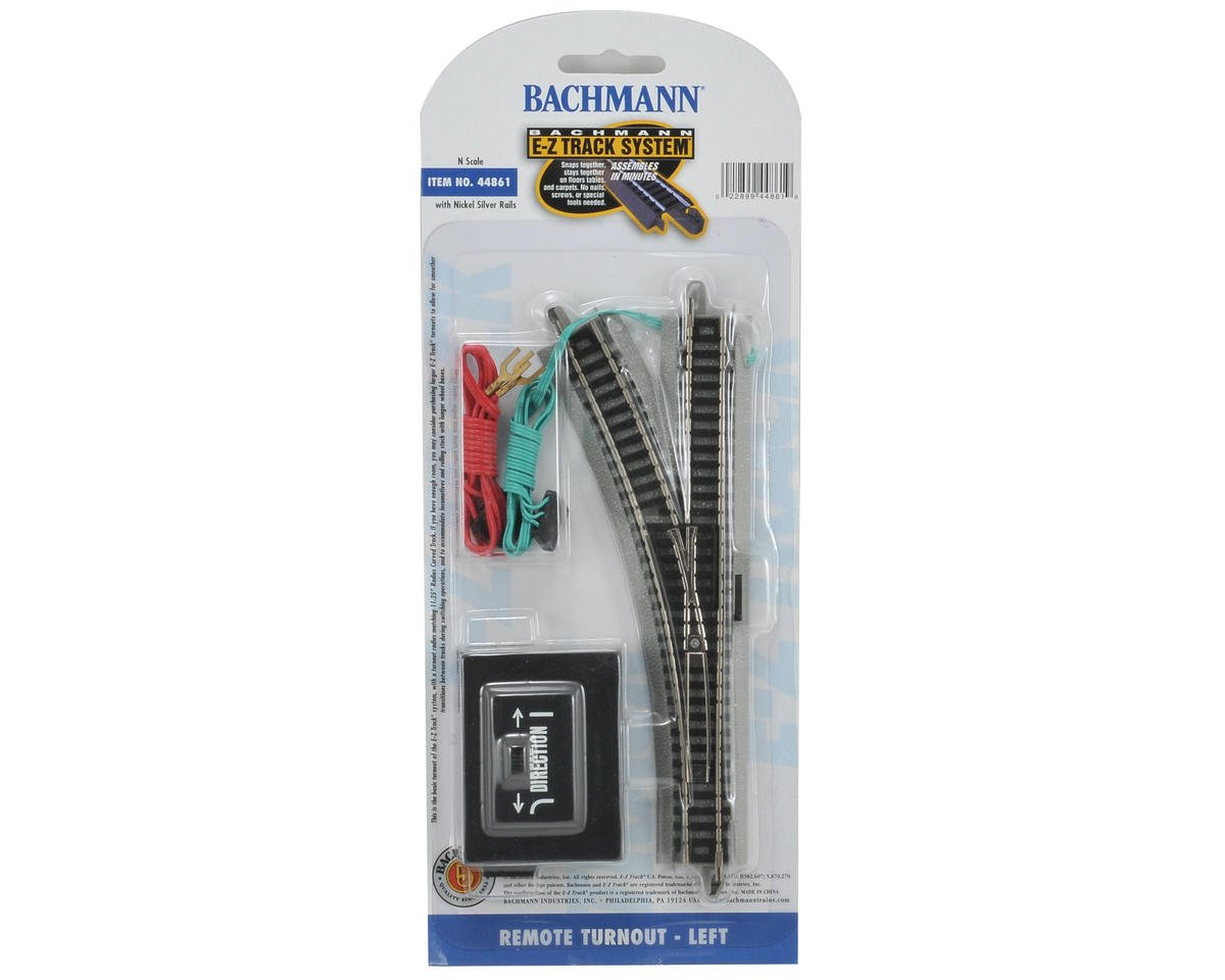 Bachmann N-Scale E-Z Track Nickel Silver Remote Left-Hand Switch