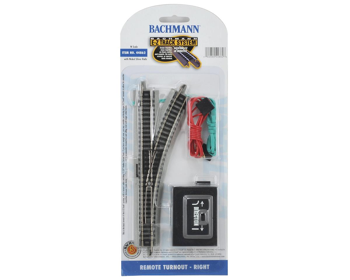 N-Scale E-Z Track Nickel Silver Remote Right-Hand Switch by Bachmann