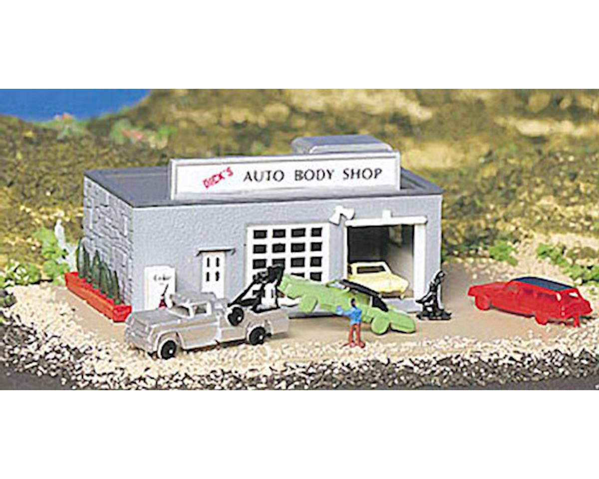 Bachmann N-Scale Plasticville Built-Up Auto Body Shop