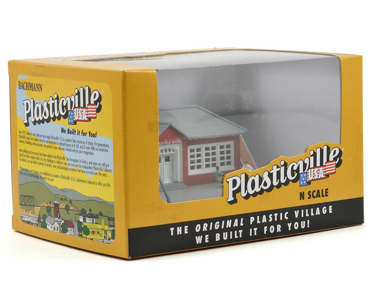 N-Scale Plasticville Built-Up School w/Equipment by Bachmann