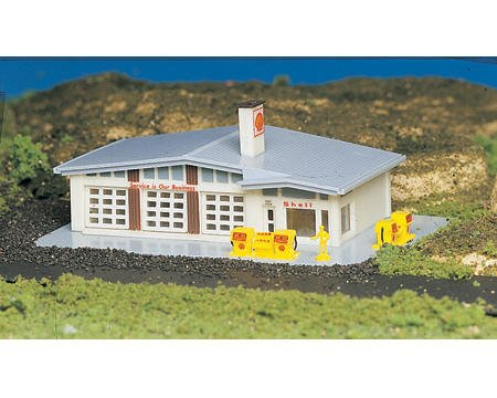 N-Scale Plasticville Built-Up Shell Gas Station by Bachmann