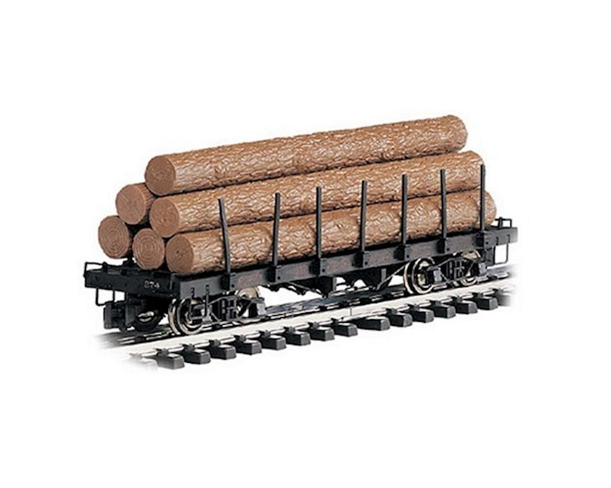 Bachmann G RTR Flat w/Logs, Brown/Unlettered