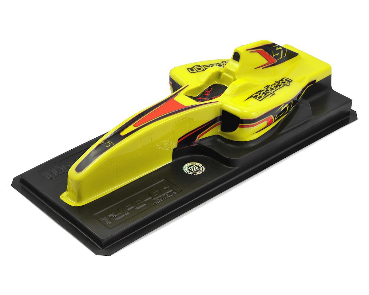 """Bittydesign """"Type-6C"""" Pre-Painted 1/10 F1 Body (Yellow)"""
