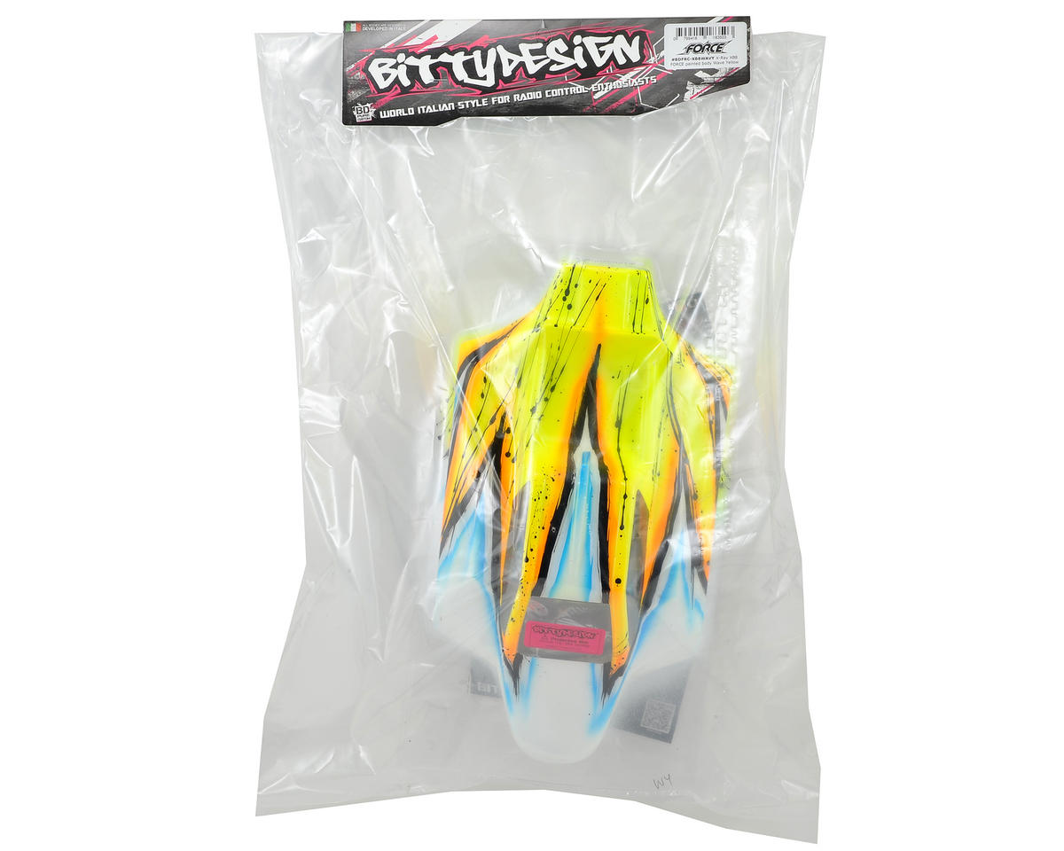 "Bittydesign ""Force"" XRAY XB8 1/8 Pre-Painted Buggy Body (Wave) (Yellow)"