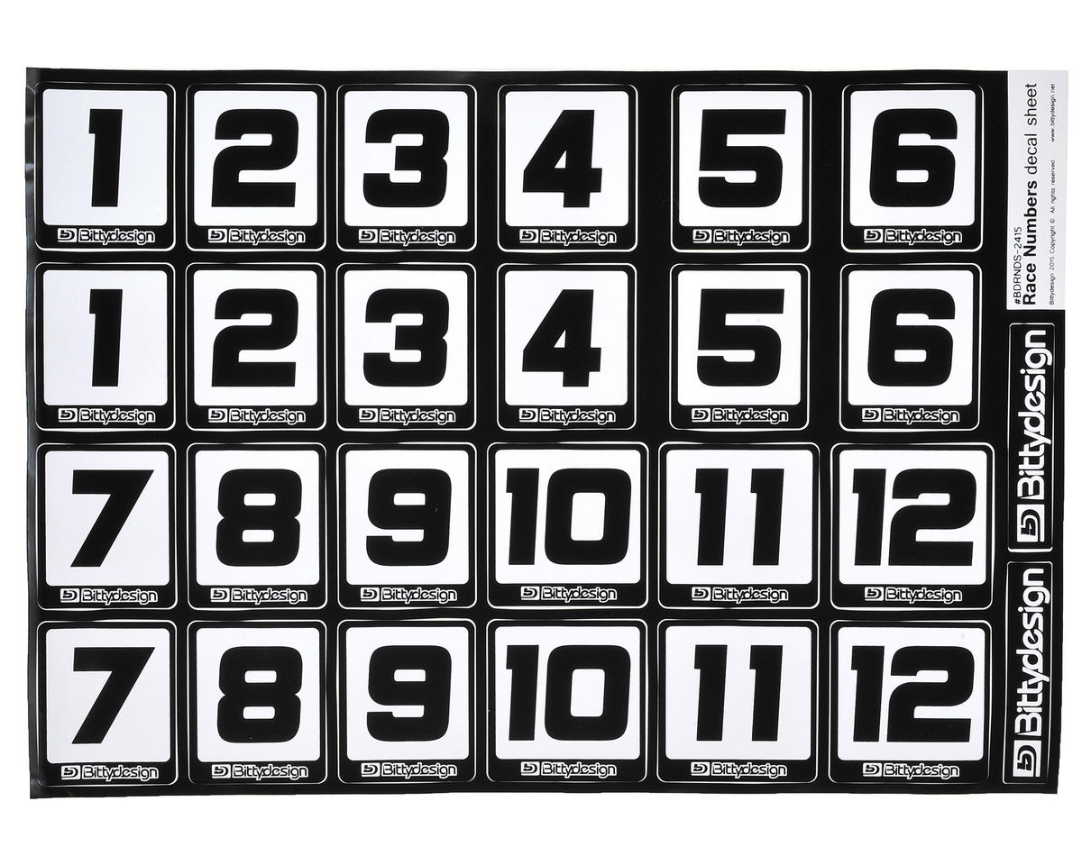 Bittydesign Race Number Decal Sheet (Large Pack - 10 Sheets)
