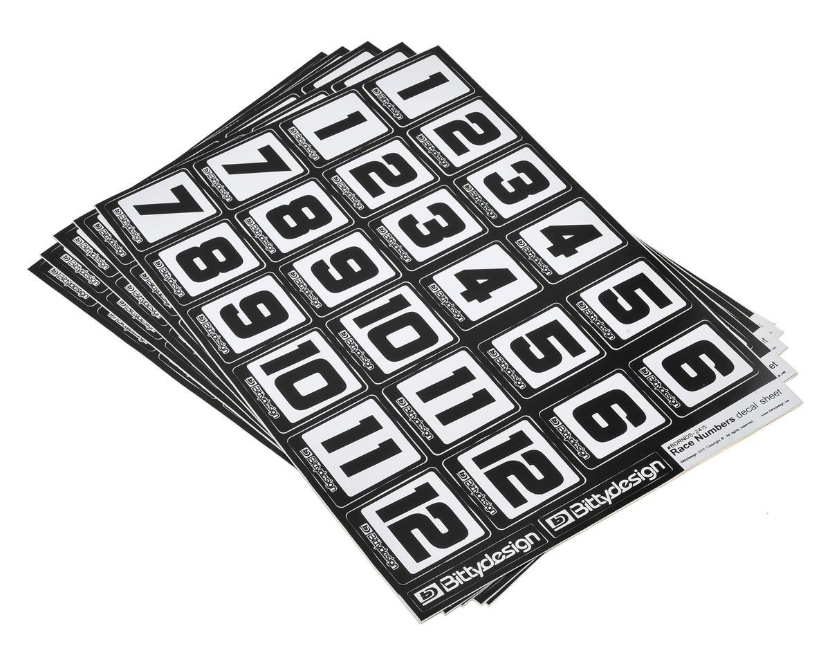 Race Number Decal Sheet (Medium Pack - 5 Sheet) by Bittydesign