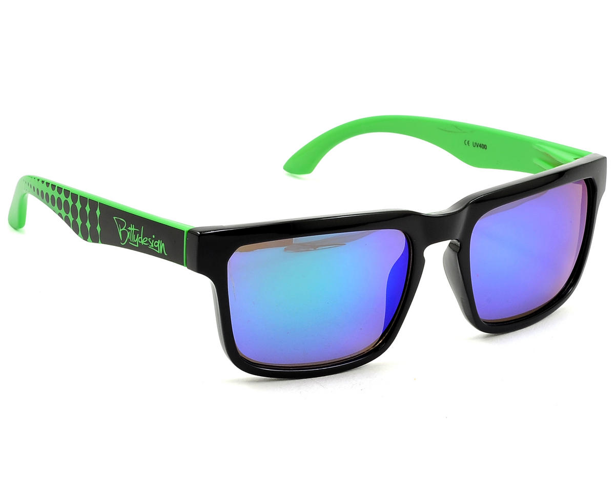 Bittydesign Claymore Sunglasses w/Ice Blue/Green Lens (Black/Green)