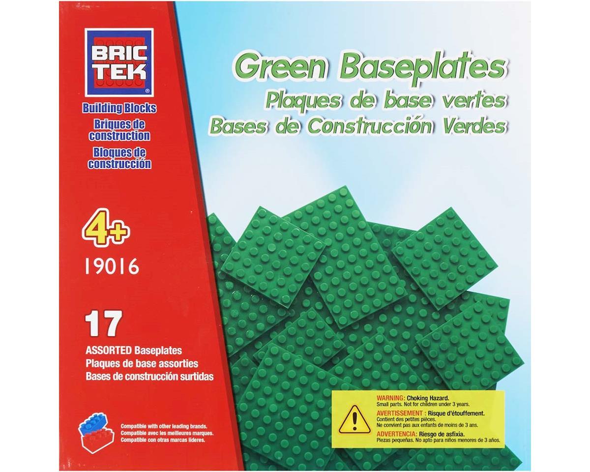 Brictek Building Blocks 19016 Baseplate 17 Assorted Green