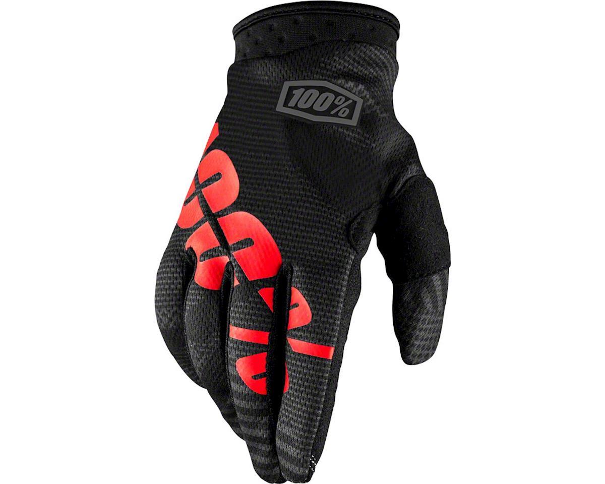 100% iTrack Youth Full Finger Glove: Black Camo LG