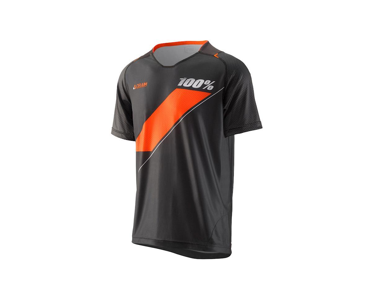 100% Celium Men's MTB Jersey: Black/Cyan XL (L)