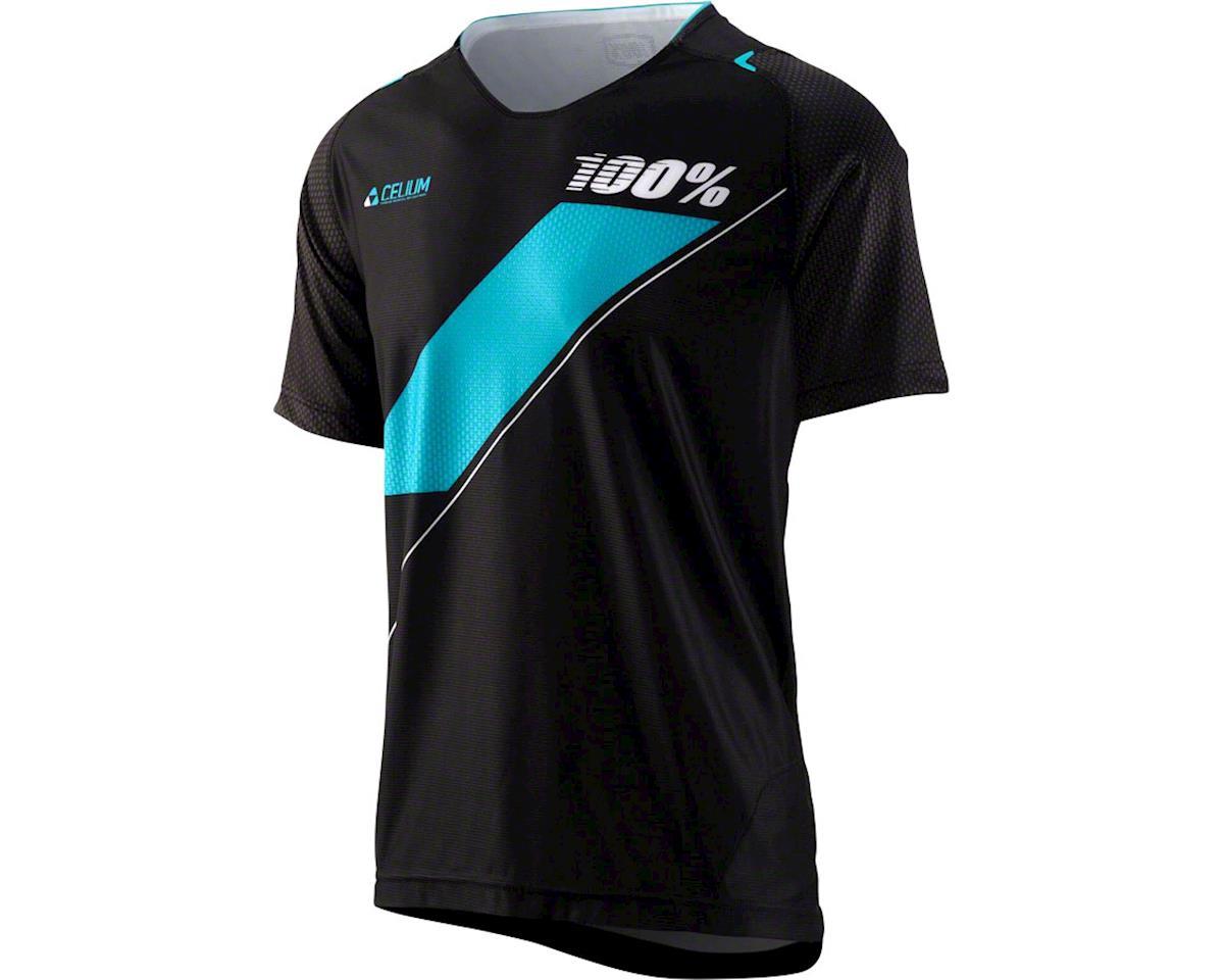 100% Celium Men's MTB Jersey (Black/Cyan)