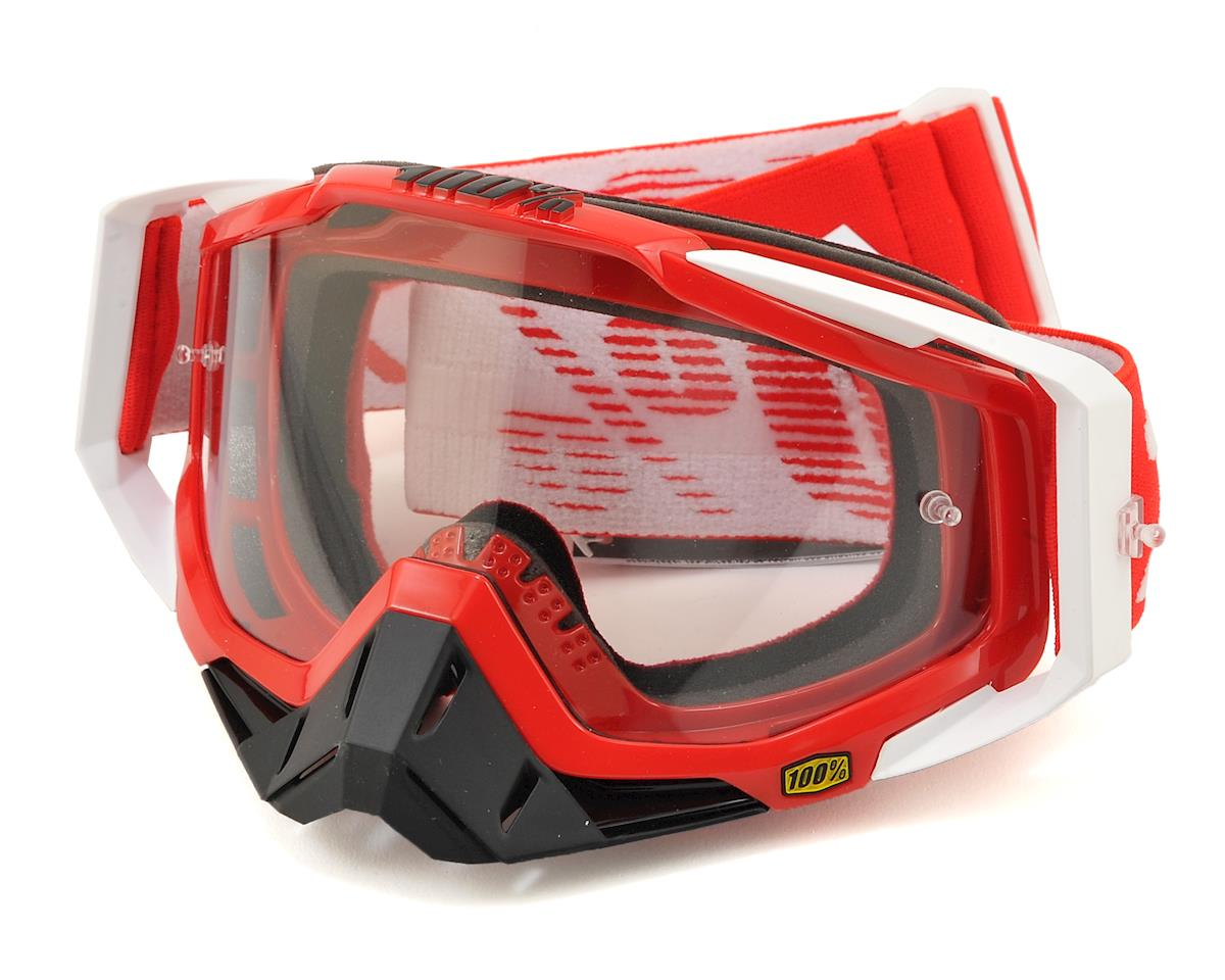 100% Racecraft Goggles (Fire Red) (Clear Lens)