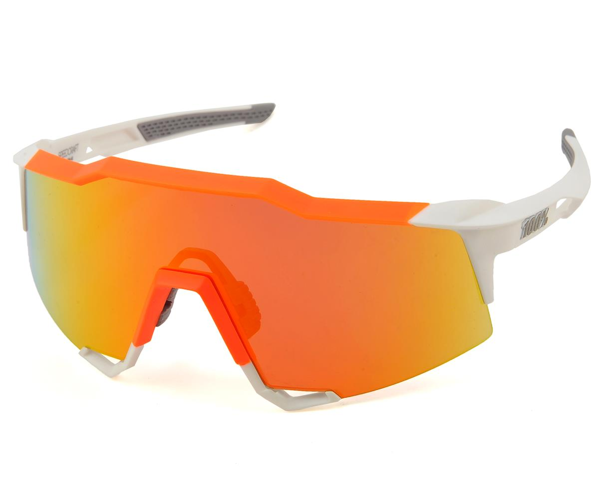 100% Speedcraft Sunglasses (White/Neon Orange) (HiPER Red Multilayer Mirror)