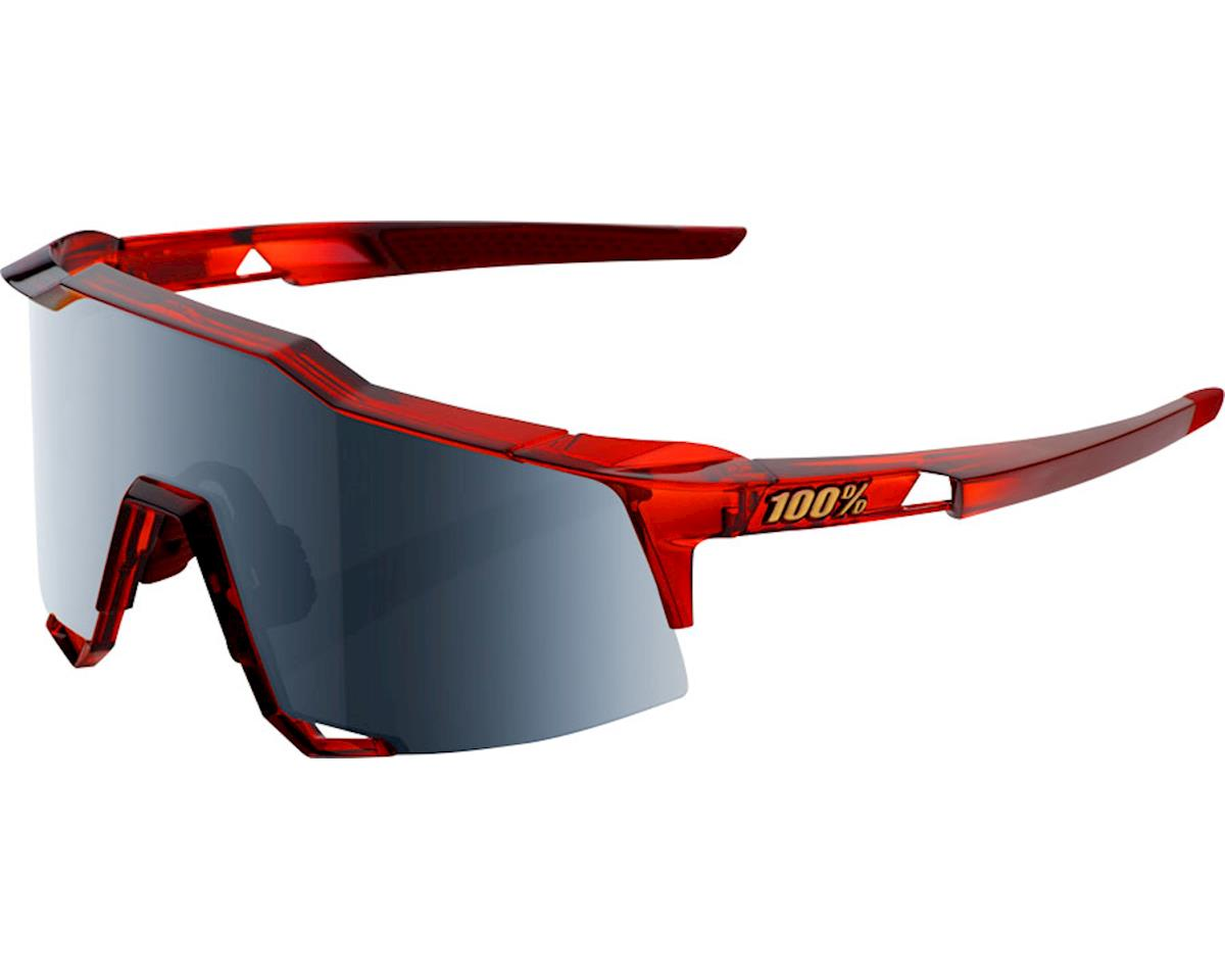 100% Speedcraft Sunglasses: Cherry Palace Frame with Black Mirror Lens, Spare Cl