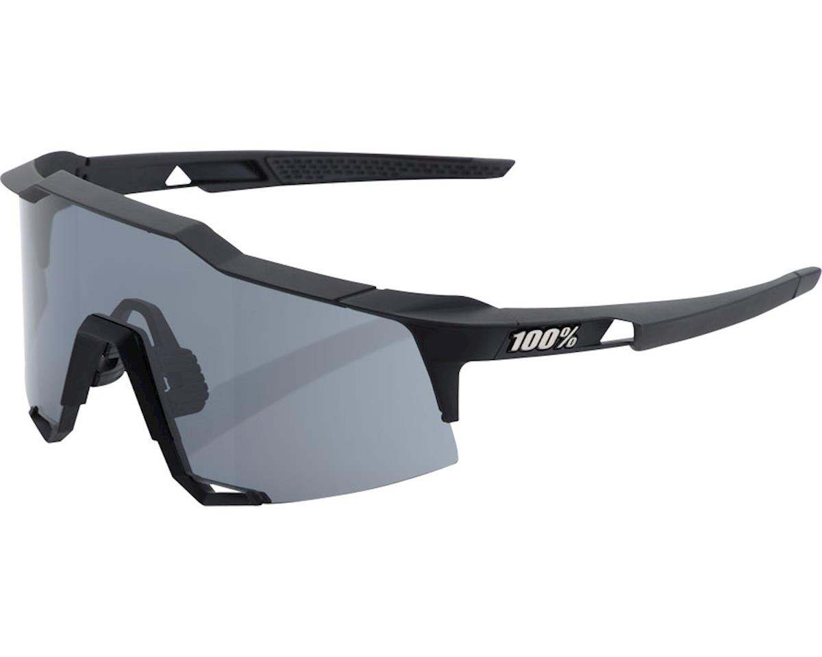 100% Speedcraft Sunglasses: Soft Tact Black Frame with Smoke Lens, Spare Clear L